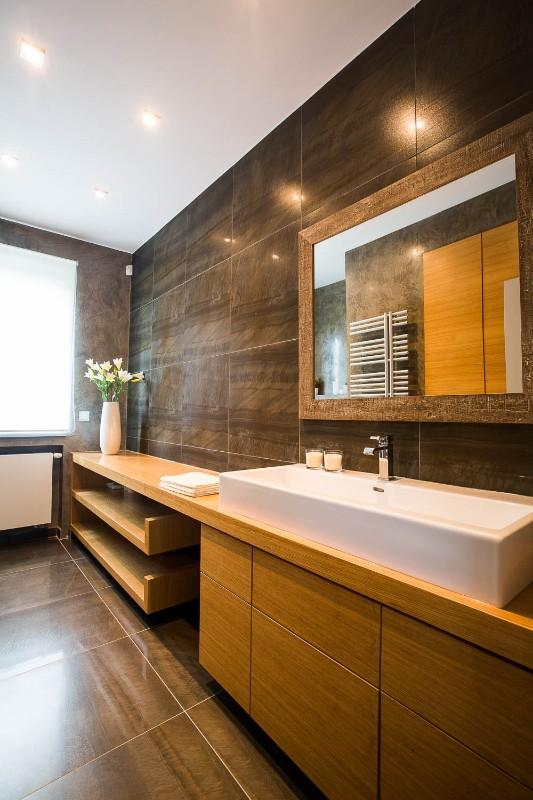 Koupelna v přízemí, funkcionalistická vila v Praze na Spořilově, 2014
